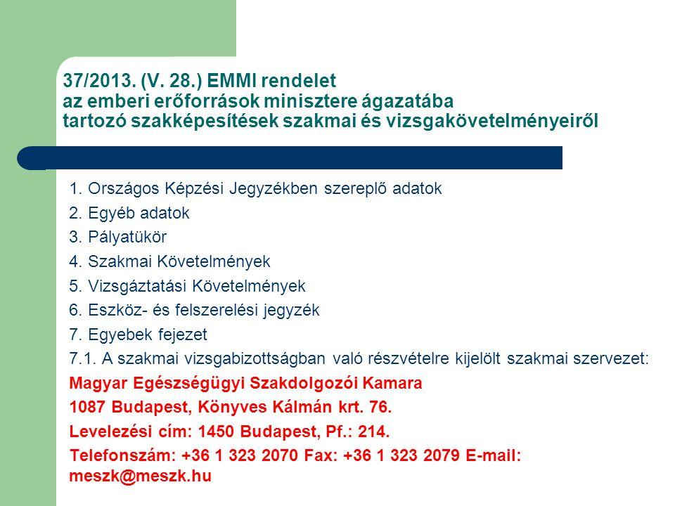 37/2013. (V. 28.) EMMI rendelet az emberi erőforrások minisztere ágazatába tartozó szakképesítések szakmai és vizsgakövetelményeiről