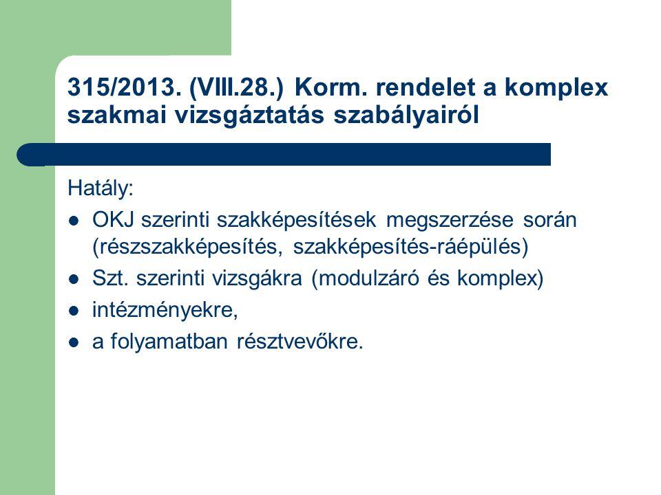 315/2013. (VIII.28.) Korm. rendelet a komplex szakmai vizsgáztatás szabályairól