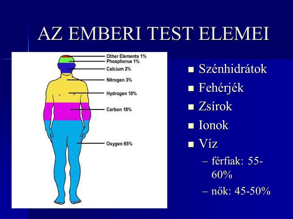 AZ EMBERI TEST ELEMEI Szénhidrátok Fehérjék Zsírok Ionok Víz