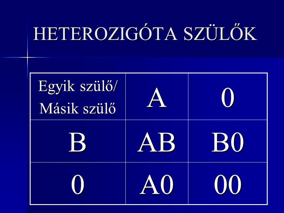 HETEROZIGÓTA SZÜLŐK Egyik szülő/ Másik szülő A B AB B0 A0 00