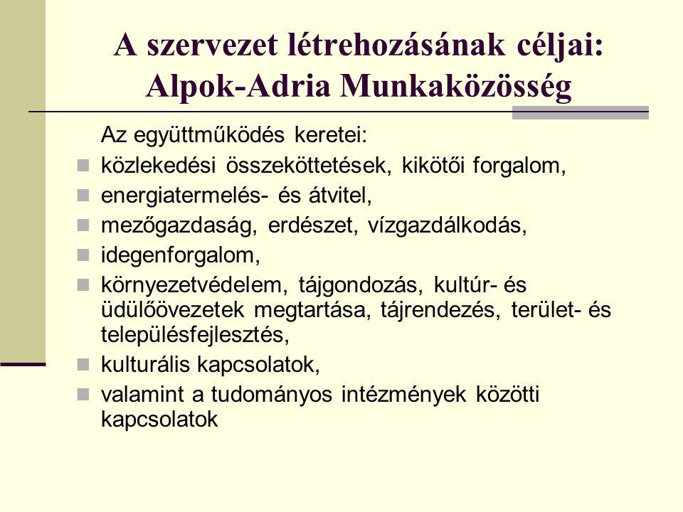 A szervezet létrehozásának céljai: Alpok-Adria Munkaközösség
