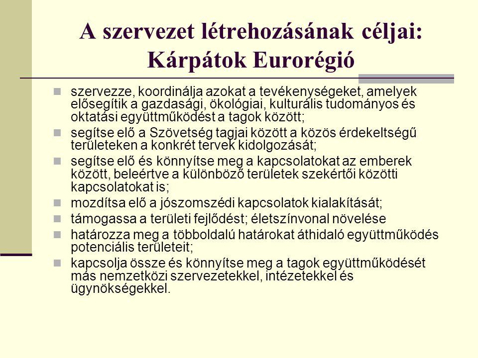 A szervezet létrehozásának céljai: Kárpátok Eurorégió