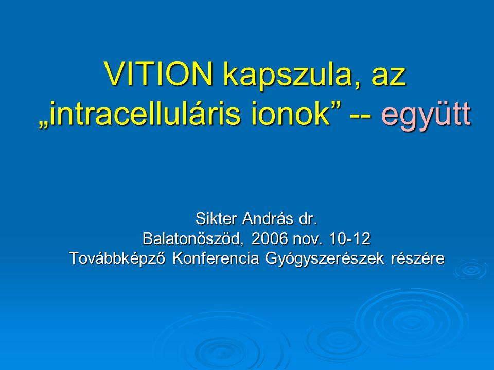 """VITION kapszula, az """"intracelluláris ionok -- együtt"""