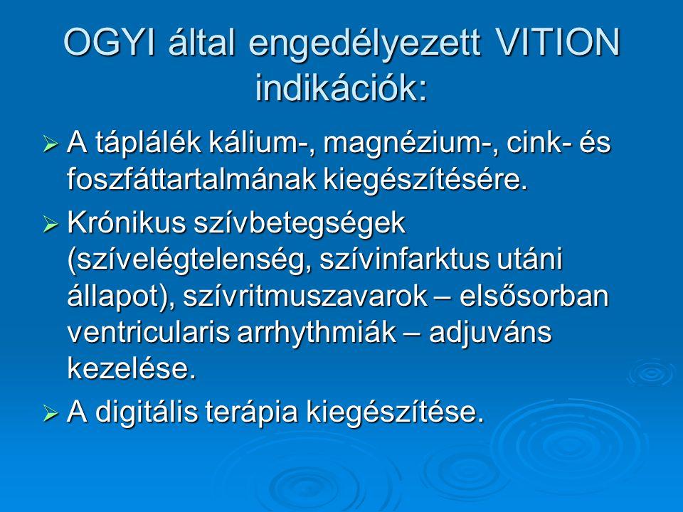 OGYI által engedélyezett VITION indikációk: