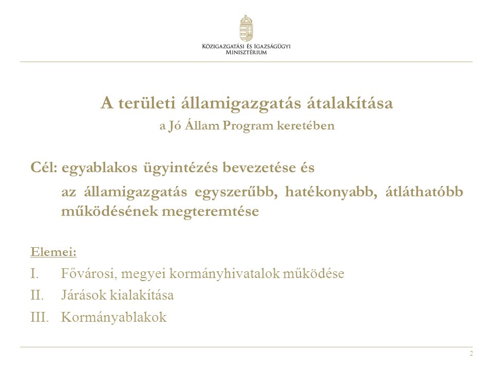 A területi államigazgatás átalakítása a Jó Állam Program keretében