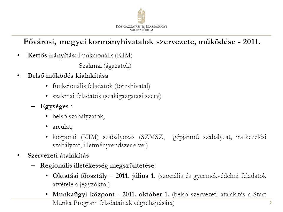 Fővárosi, megyei kormányhivatalok szervezete, működése - 2011.