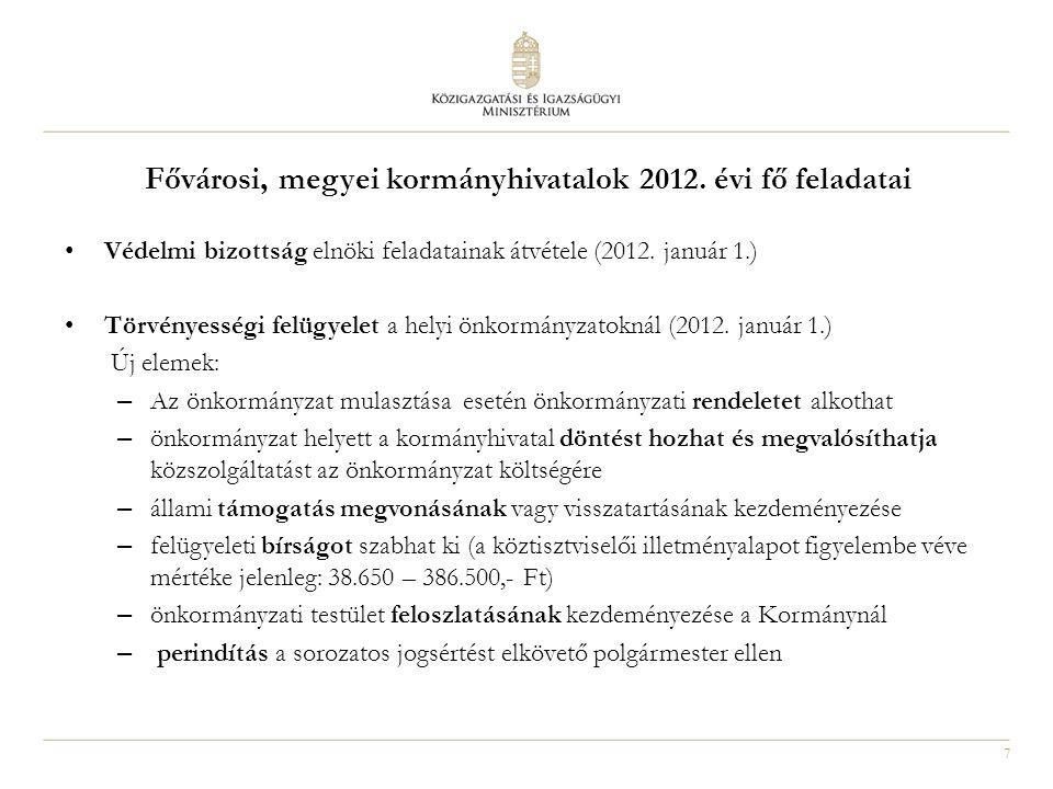 Fővárosi, megyei kormányhivatalok 2012. évi fő feladatai