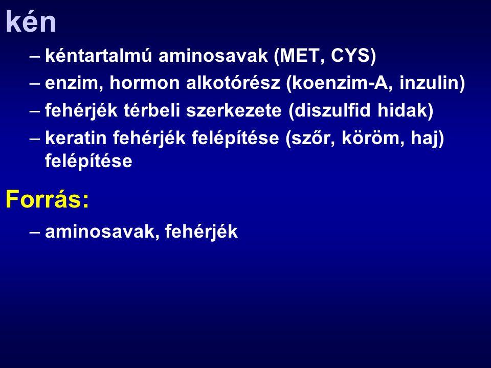kén Forrás: kéntartalmú aminosavak (MET, CYS)