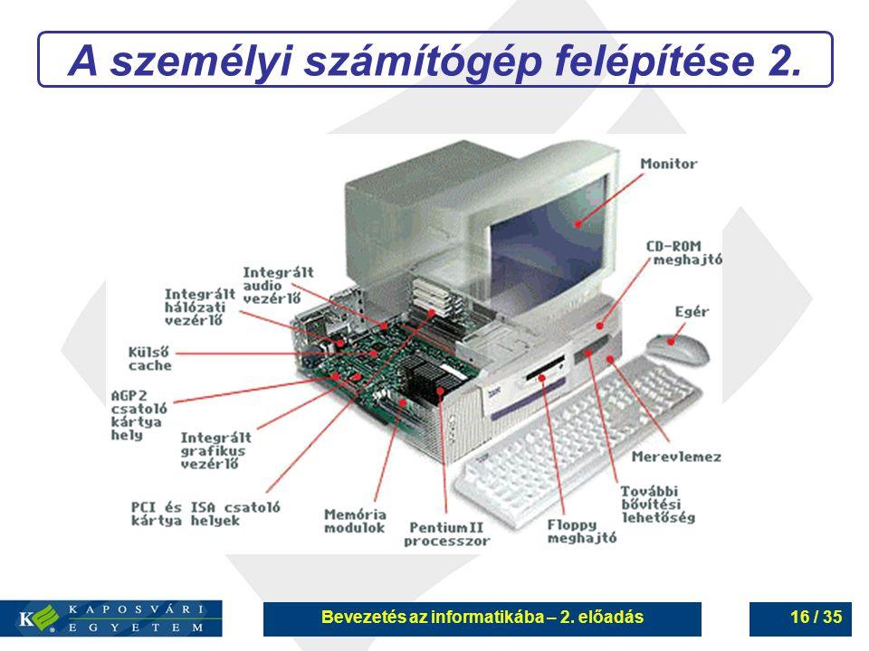 A személyi számítógép felépítése 2.