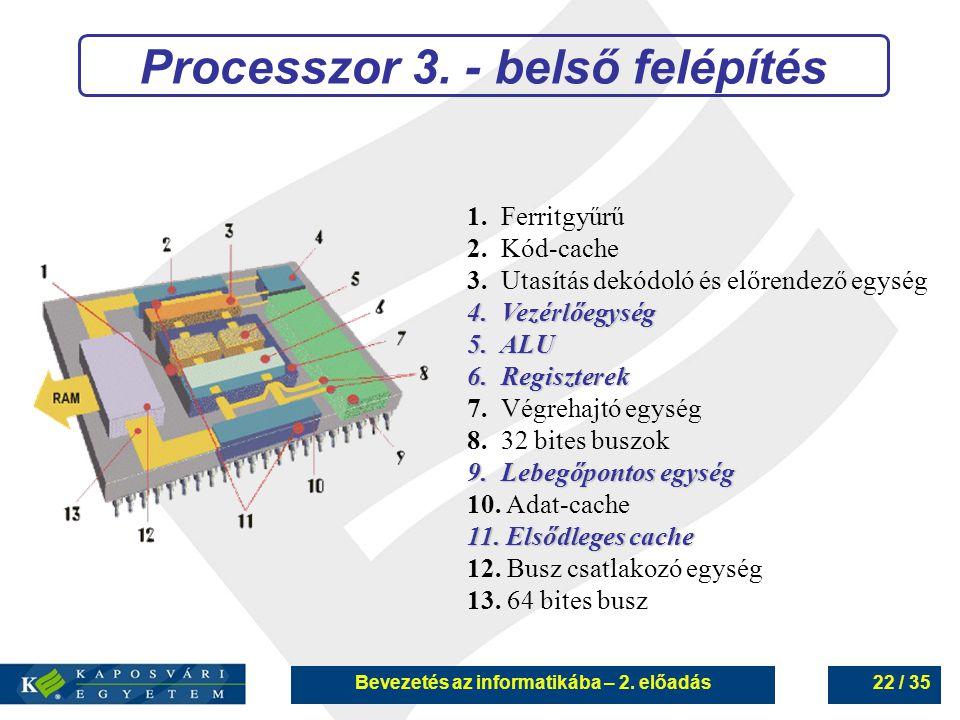 Processzor 3. - belső felépítés