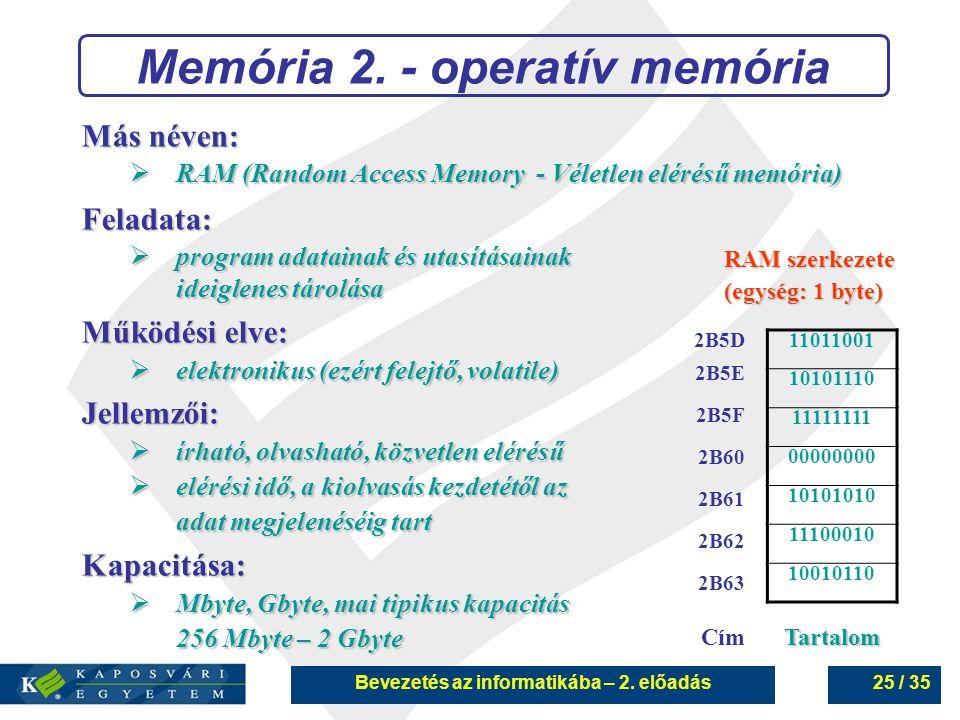 Memória 2. - operatív memória Bevezetés az informatikába – 2. előadás