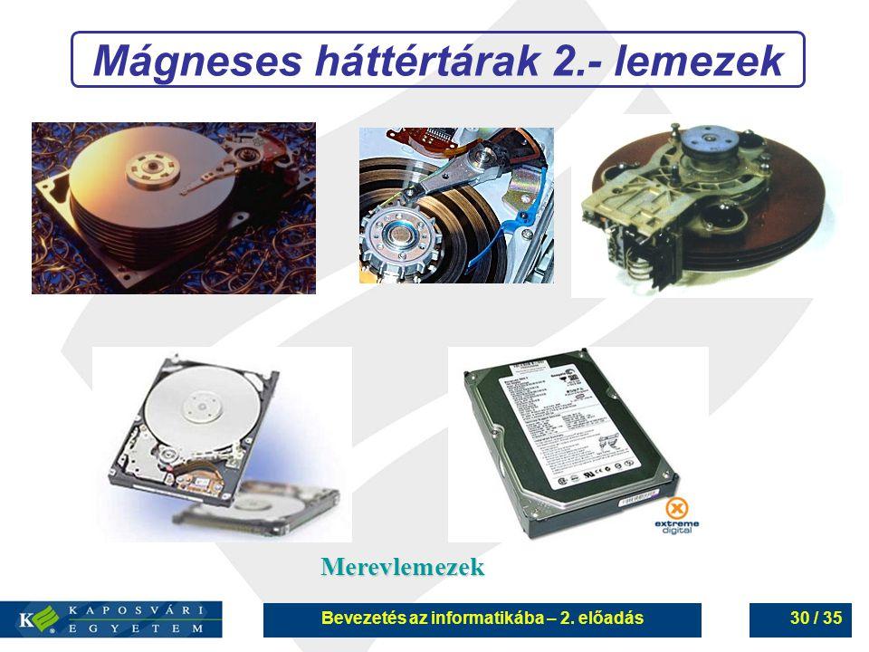 Mágneses háttértárak 2.- lemezek