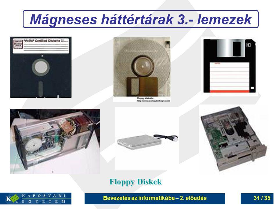 Mágneses háttértárak 3.- lemezek