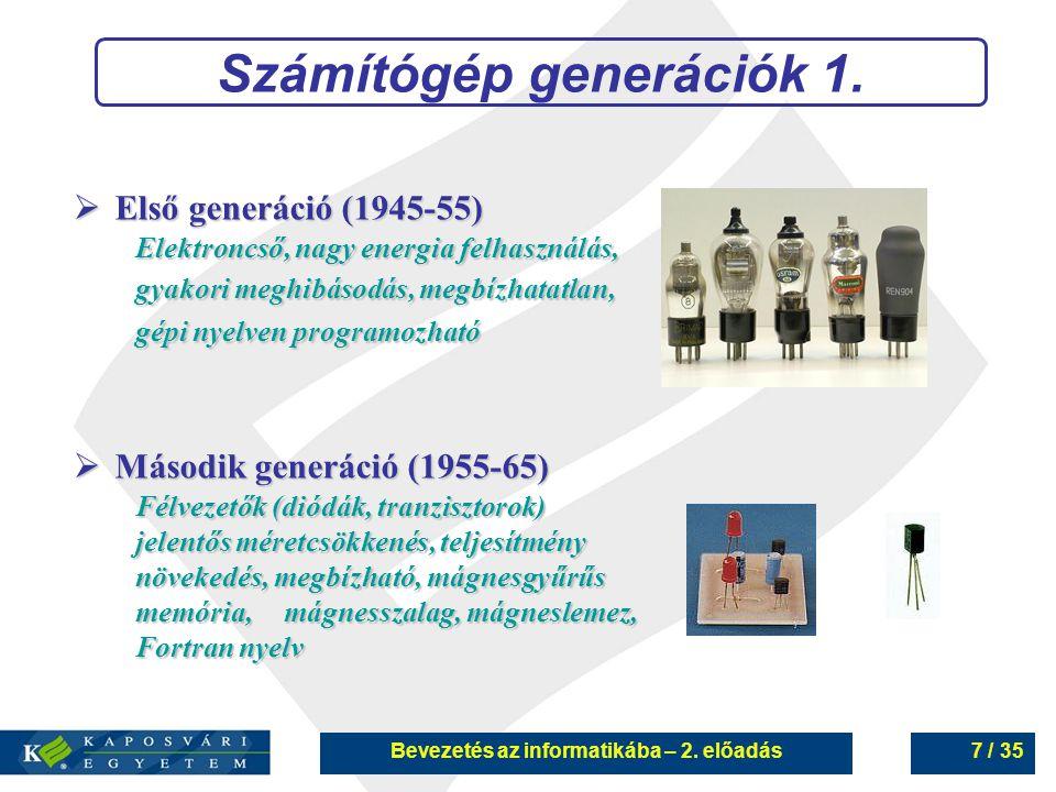 Számítógép generációk 1. Bevezetés az informatikába – 2. előadás