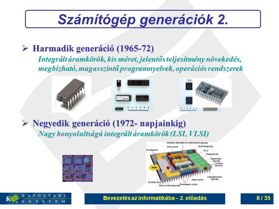 Számítógép generációk 2. Bevezetés az informatikába – 2. előadás