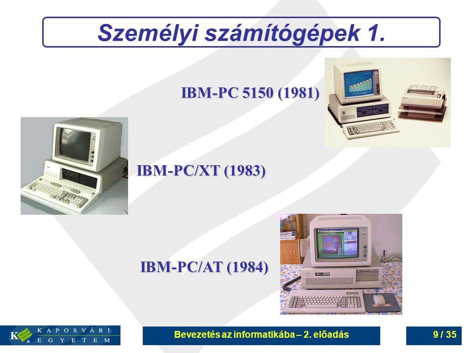 Személyi számítógépek 1. Bevezetés az informatikába – 2. előadás