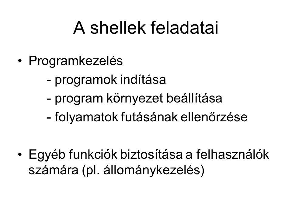 A shellek feladatai Programkezelés - programok indítása