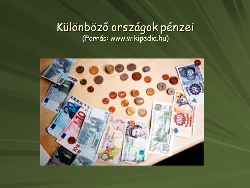 Különböző országok pénzei (Forrás: www.wikipedia.hu)