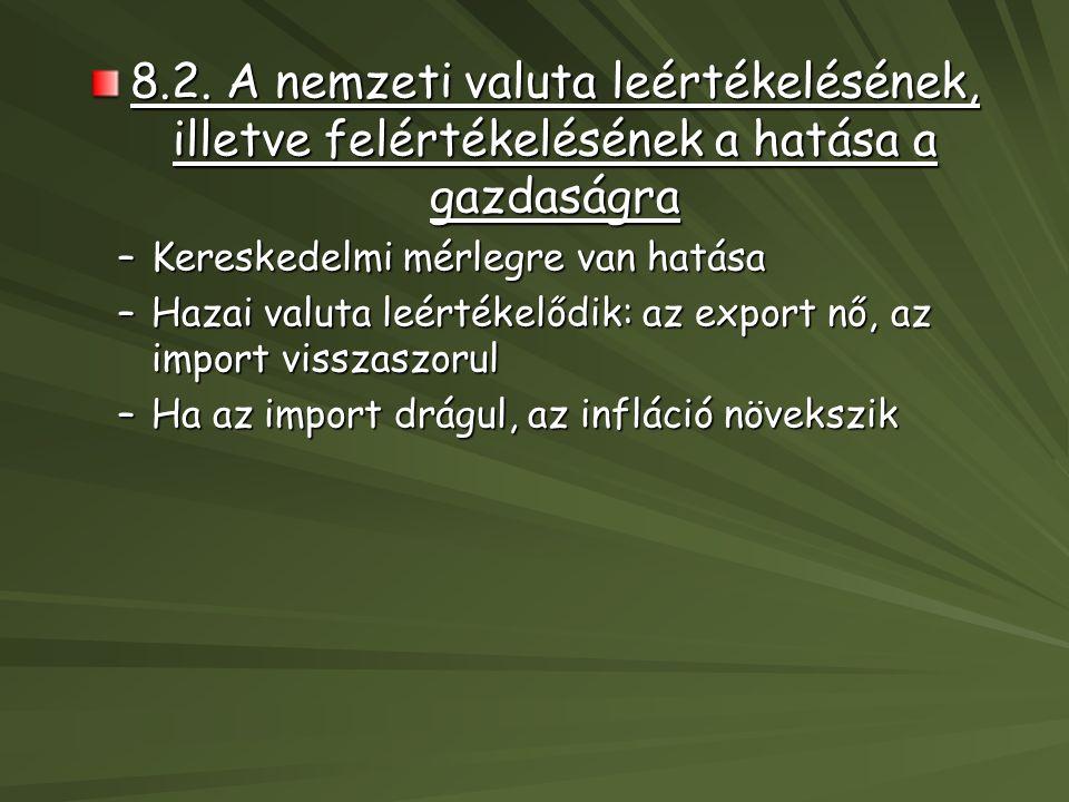 8.2. A nemzeti valuta leértékelésének, illetve felértékelésének a hatása a gazdaságra