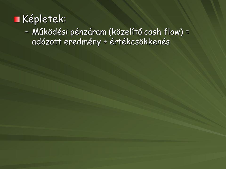 Képletek: Működési pénzáram (közelítő cash flow) = adózott eredmény + értékcsökkenés