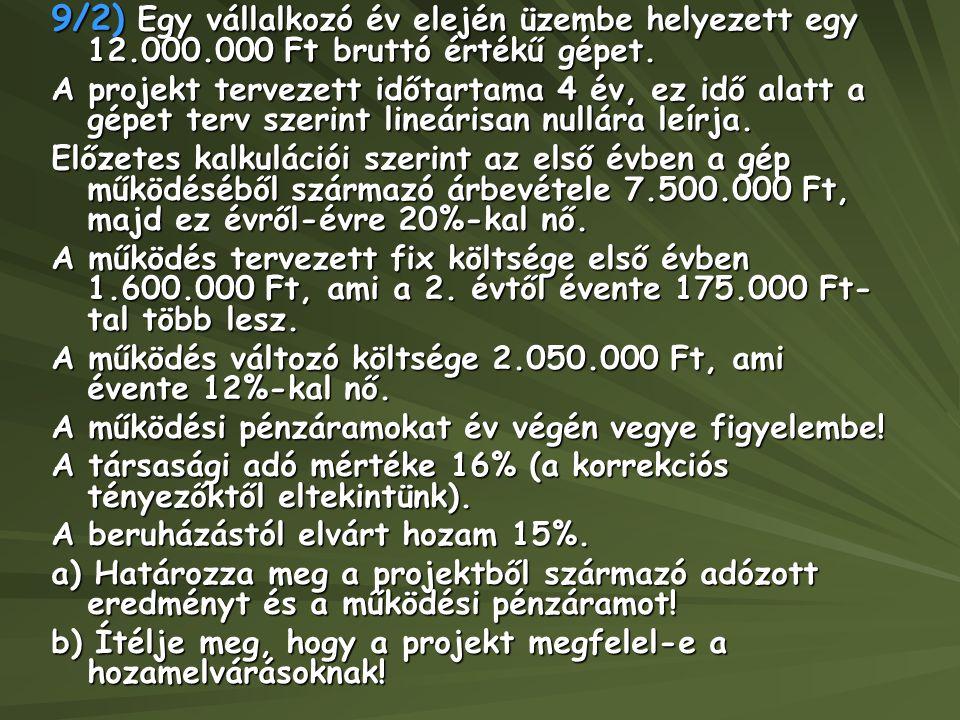9/2) Egy vállalkozó év elején üzembe helyezett egy 12. 000