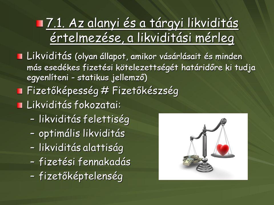 7.1. Az alanyi és a tárgyi likviditás értelmezése, a likviditási mérleg