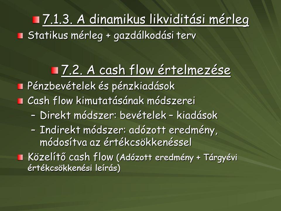 7.1.3. A dinamikus likviditási mérleg