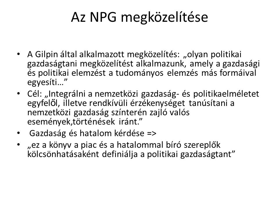 Az NPG megközelítése