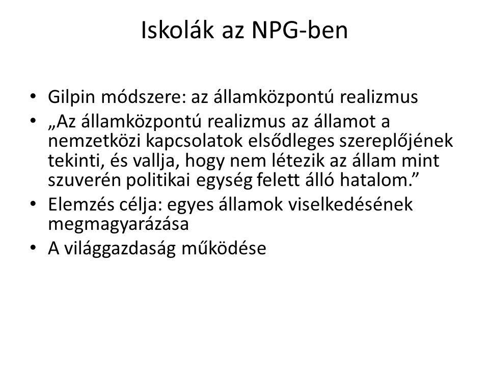 Iskolák az NPG-ben Gilpin módszere: az államközpontú realizmus