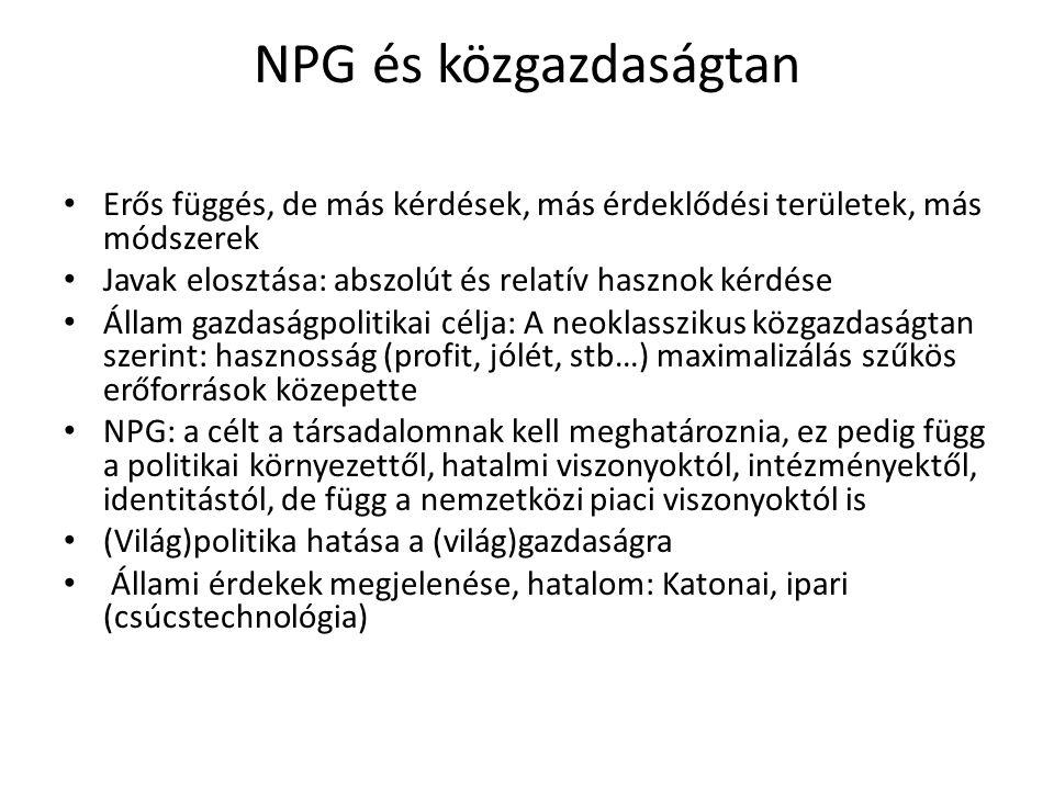 NPG és közgazdaságtan Erős függés, de más kérdések, más érdeklődési területek, más módszerek. Javak elosztása: abszolút és relatív hasznok kérdése.