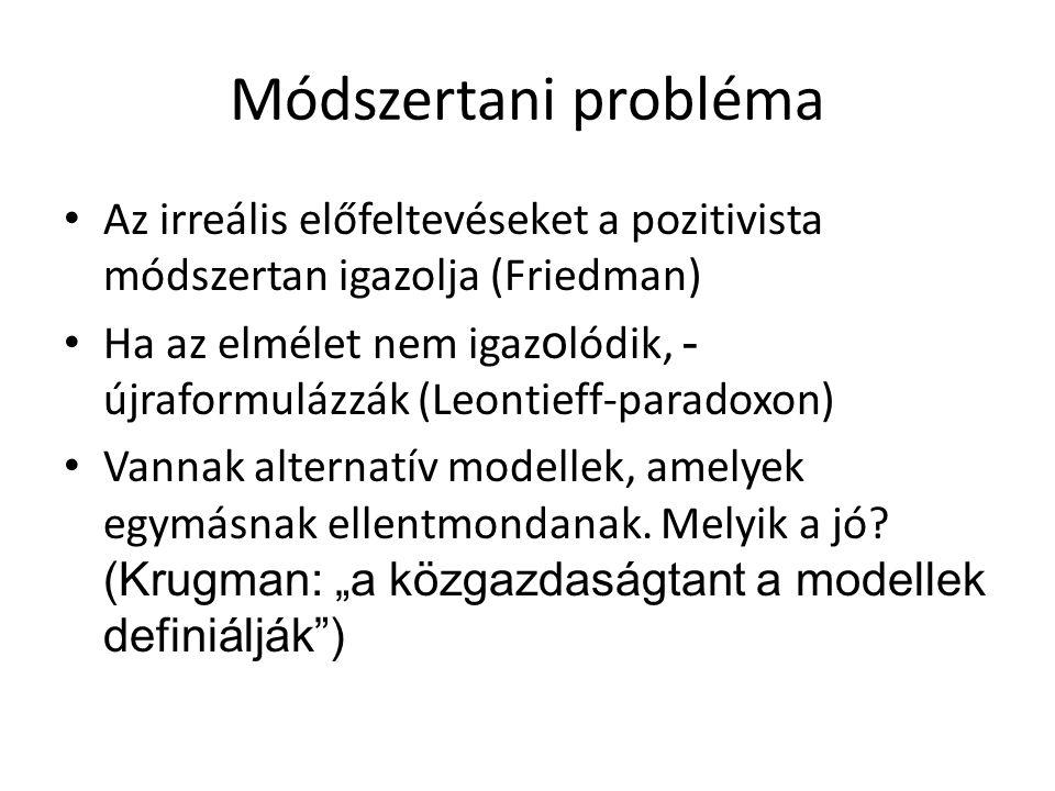 Módszertani probléma Az irreális előfeltevéseket a pozitivista módszertan igazolja (Friedman)