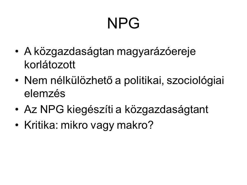 NPG A közgazdaságtan magyarázóereje korlátozott