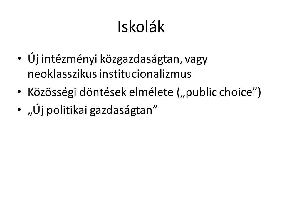"""Iskolák Új intézményi közgazdaságtan, vagy neoklasszikus institucionalizmus. Közösségi döntések elmélete (""""public choice )"""