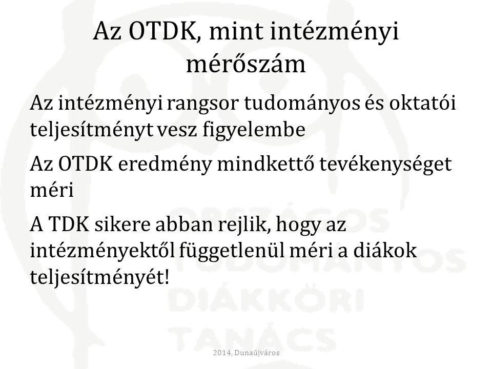Az OTDK, mint intézményi mérőszám