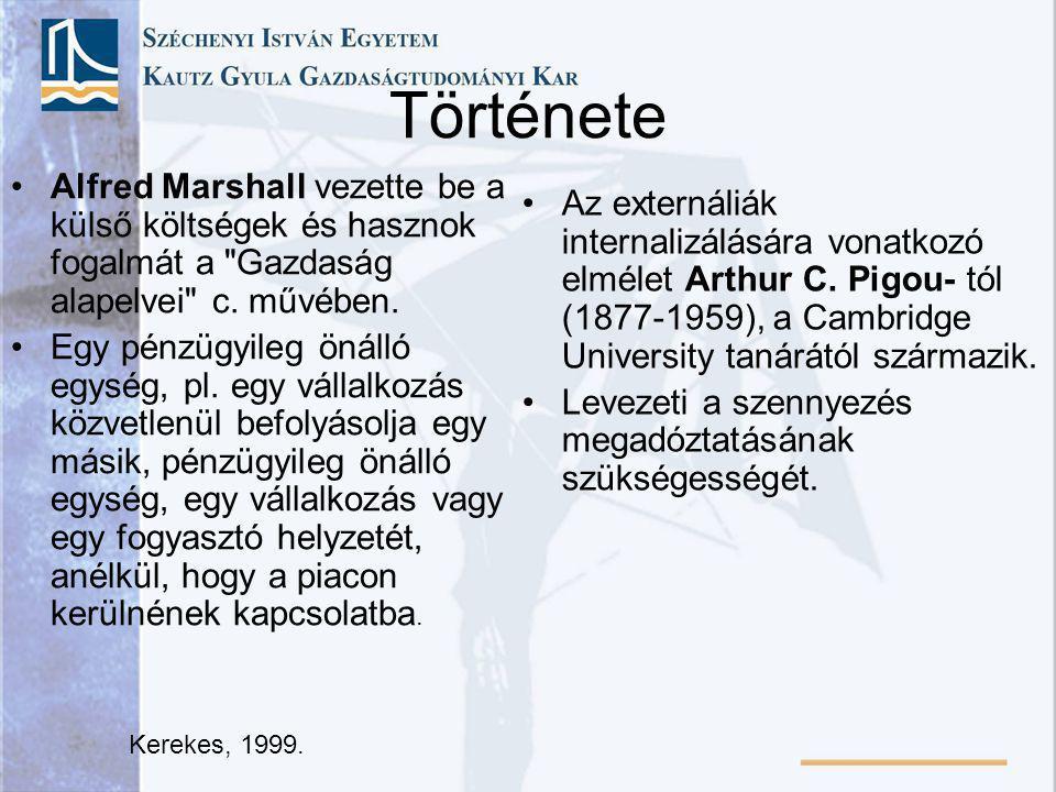 Története Alfred Marshall vezette be a külső költségek és hasznok fogalmát a Gazdaság alapelvei c. művében.