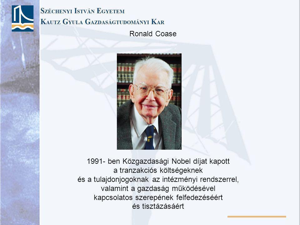 1991- ben Közgazdasági Nobel díjat kapott a tranzakciós költségeknek