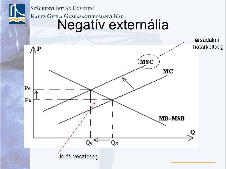 Negatív externália Társadalmi határköltség Jóléti veszteség
