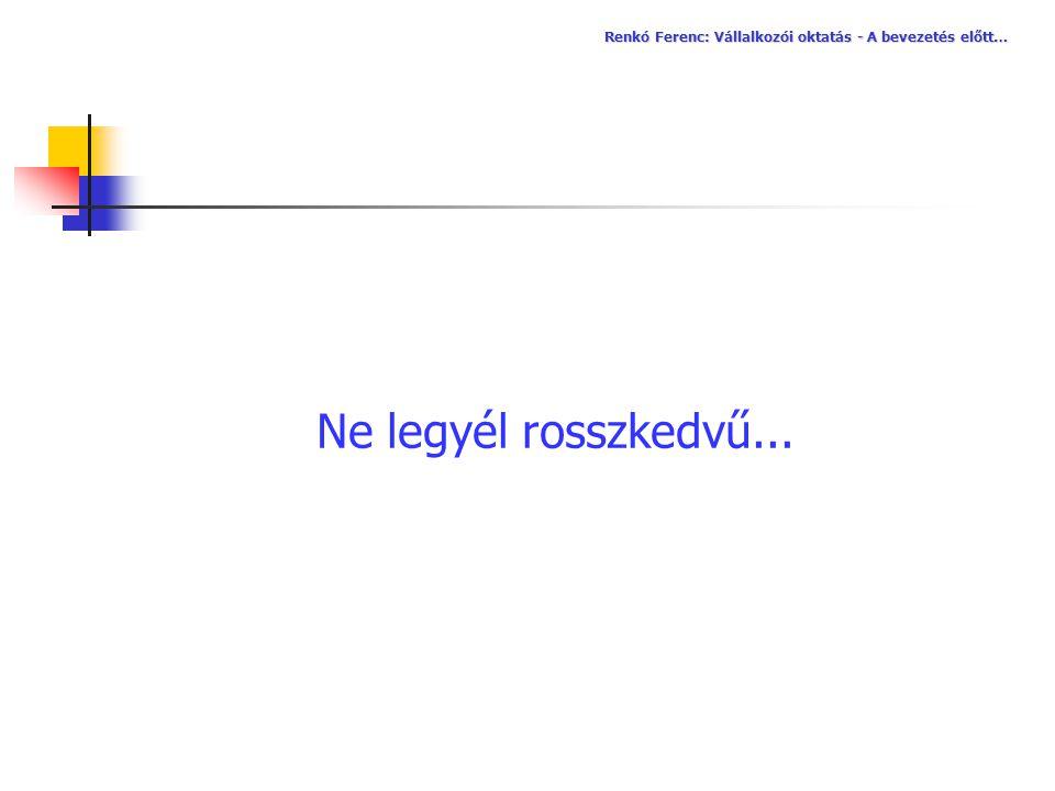 Renkó Ferenc: Vállalkozói oktatás - A bevezetés előtt…