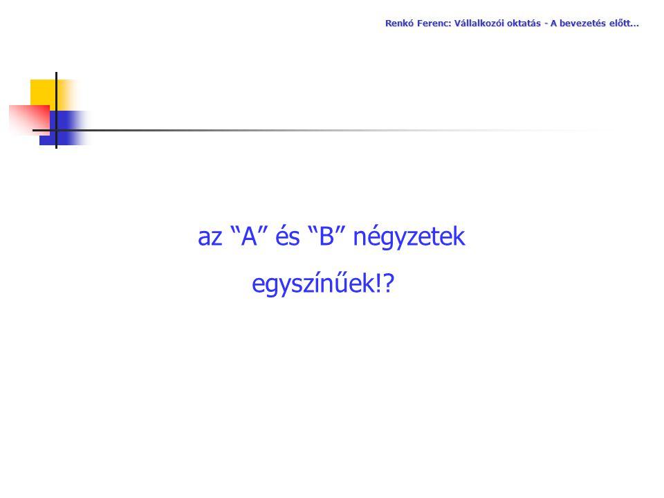 az A és B négyzetek egyszínűek!
