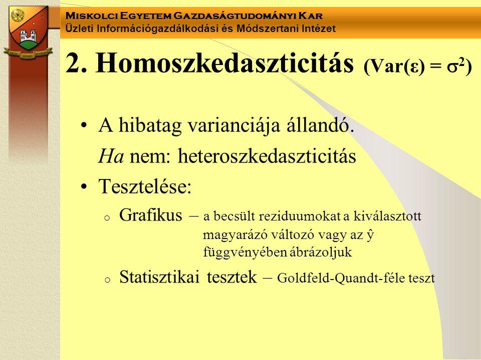 2. Homoszkedaszticitás (Var(ε) = 2)