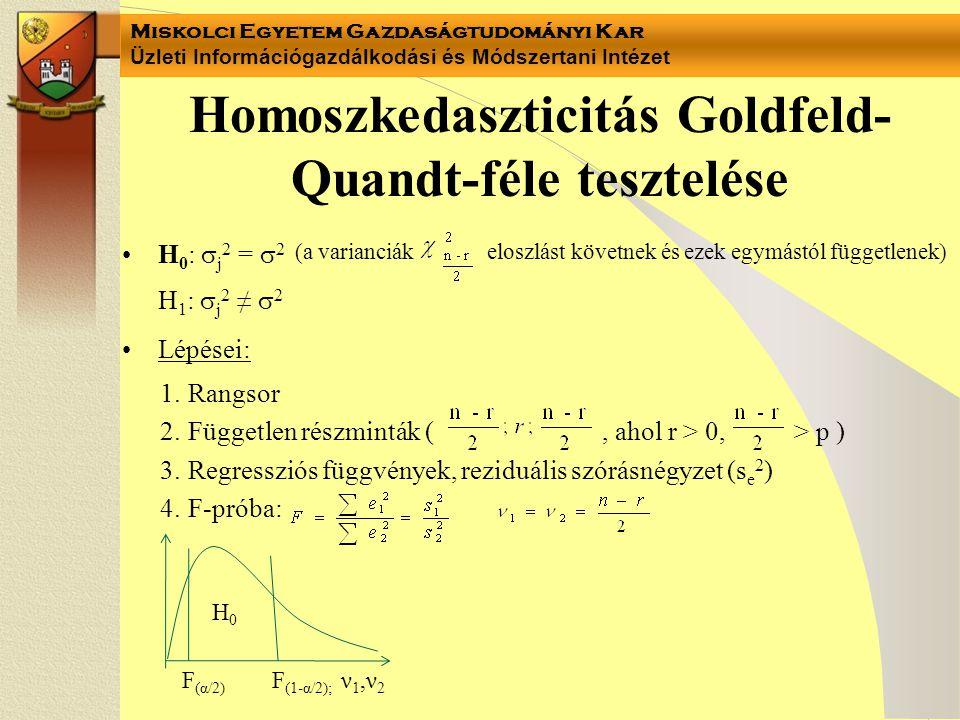 Homoszkedaszticitás Goldfeld-Quandt-féle tesztelése