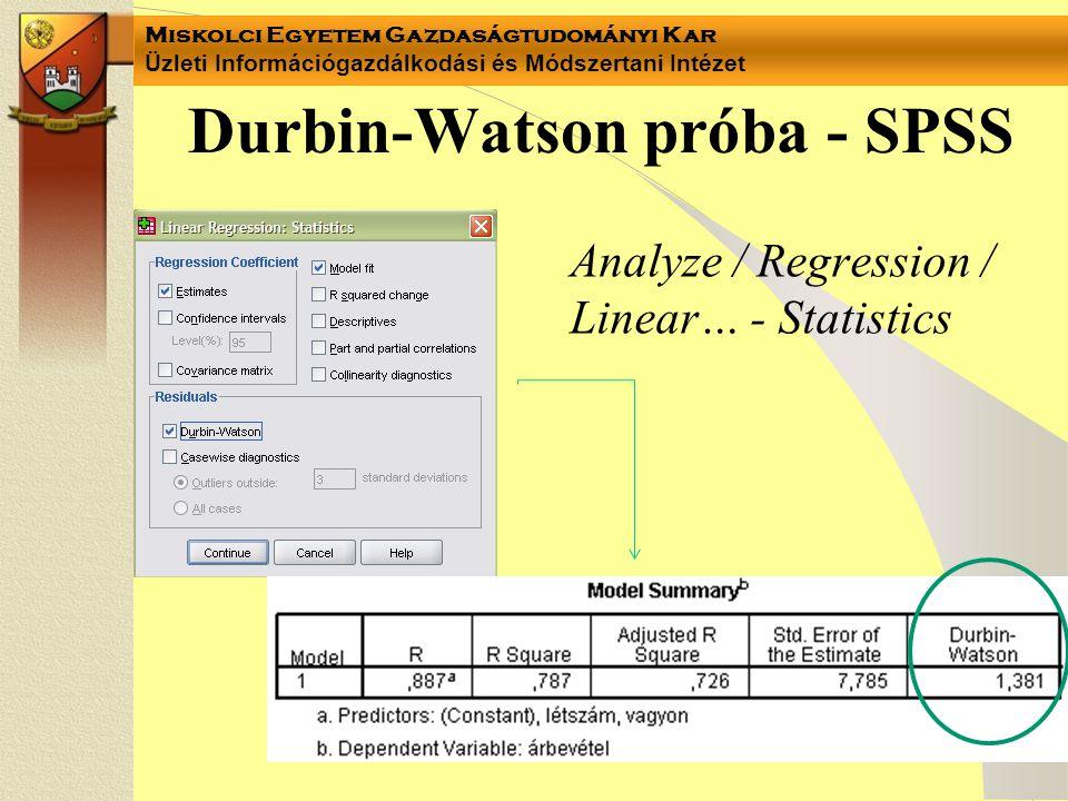 Durbin-Watson próba - SPSS