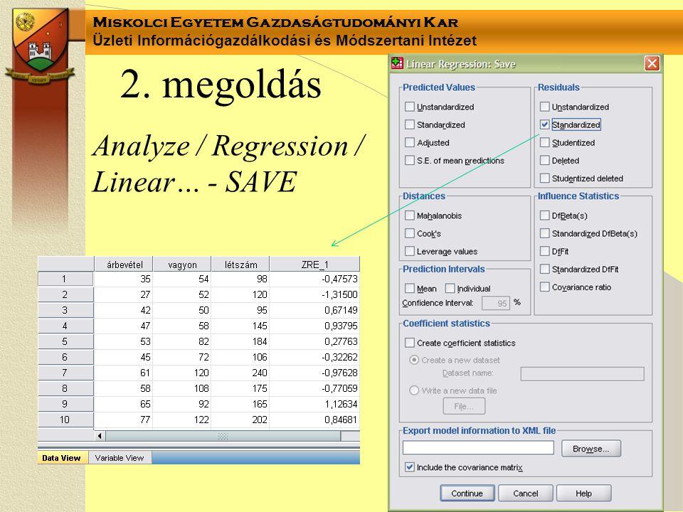 2. megoldás Analyze / Regression / Linear… - SAVE
