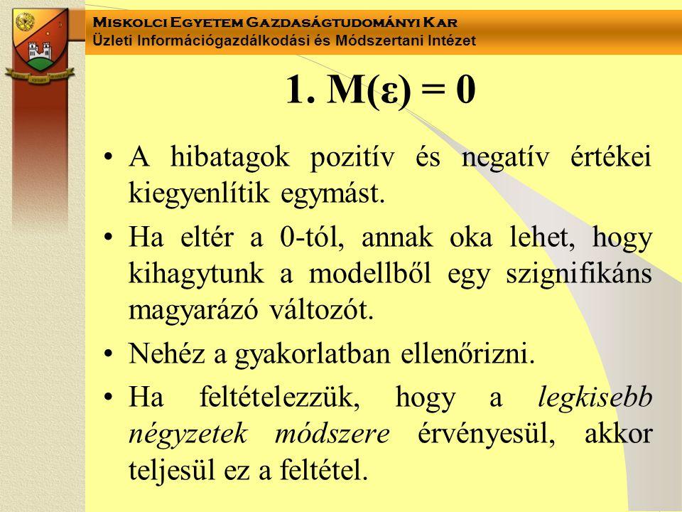 1. M(ε) = 0 A hibatagok pozitív és negatív értékei kiegyenlítik egymást.