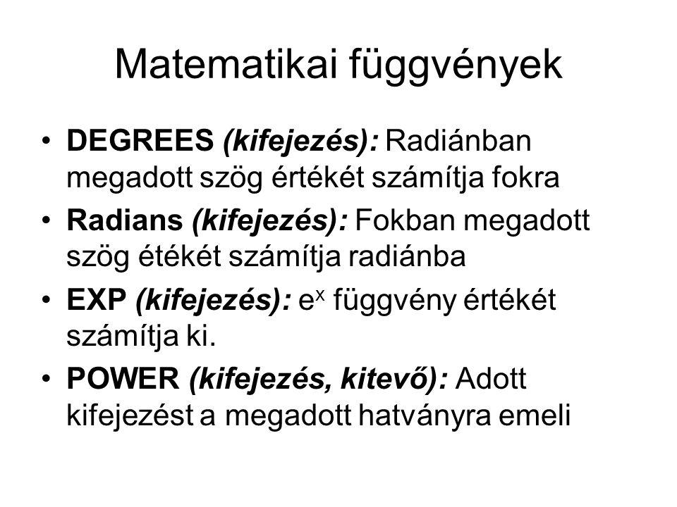 Matematikai függvények