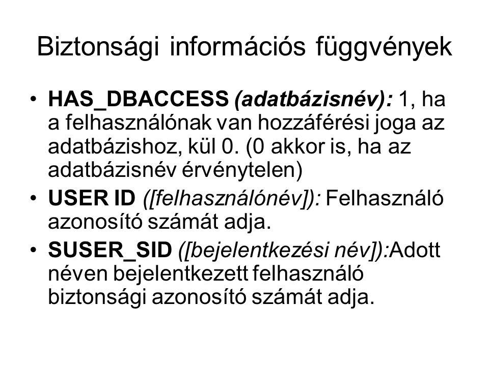 Biztonsági információs függvények