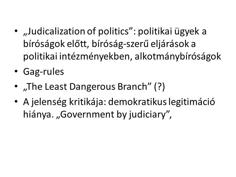 """""""Judicalization of politics : politikai ügyek a bíróságok előtt, bíróság-szerű eljárások a politikai intézményekben, alkotmánybíróságok"""