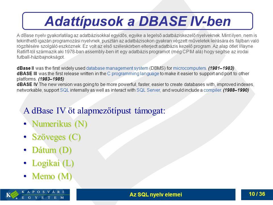 Adattípusok a DBASE IV-ben