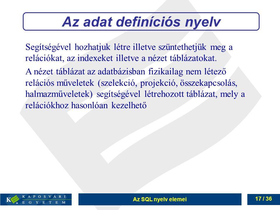 Az adat definíciós nyelv