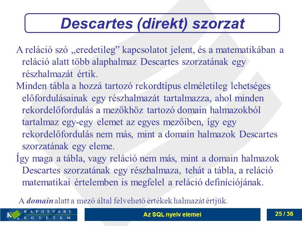 Descartes (direkt) szorzat